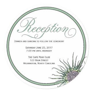 Thistle Flower Round Wedding Reception Invitation