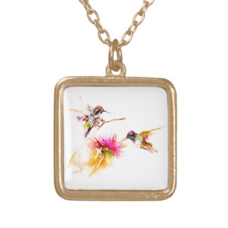 """Thistle for Two"" Hummingbird Print on Gold Plated Necklace"