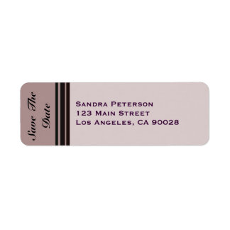 thistle plum striped Save the Date Return Address Label