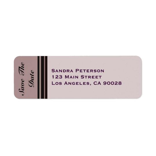 thistle plum striped Save the Date Return Address Label