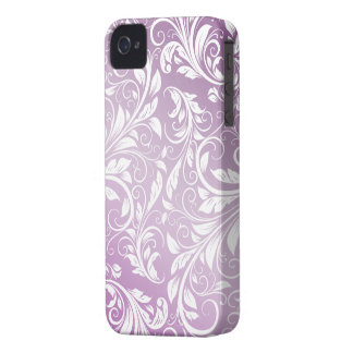 Thistle Purple and White Floral Damask Pattern iPhone 4 Cover