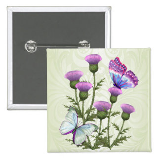 Thistles and Butterflies 15 Cm Square Badge