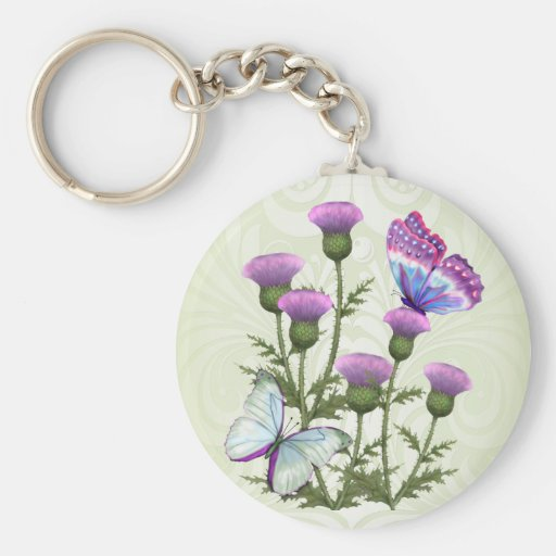 Thistles and Butterflies Keychain