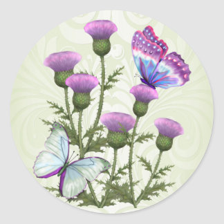 Thistles and Butterflies Round Sticker