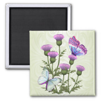 Thistles and Butterflies Square Magnet