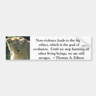 Thomas A. Edison Animal Rights quote Bumper Sticker