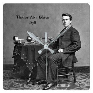 Thomas Alva Edison, 1878 Square Wall Clock