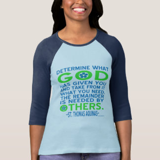 Thomas Aquinas God Given Blue and Green T-Shirt