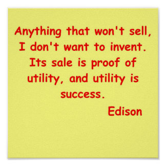 Thomas Edison quote Print