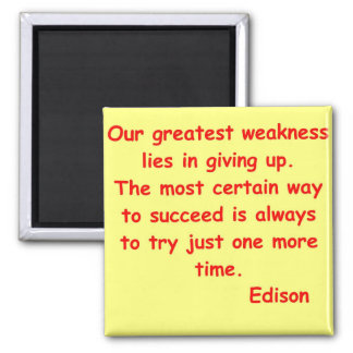 Thomas Edison quote Square Magnet