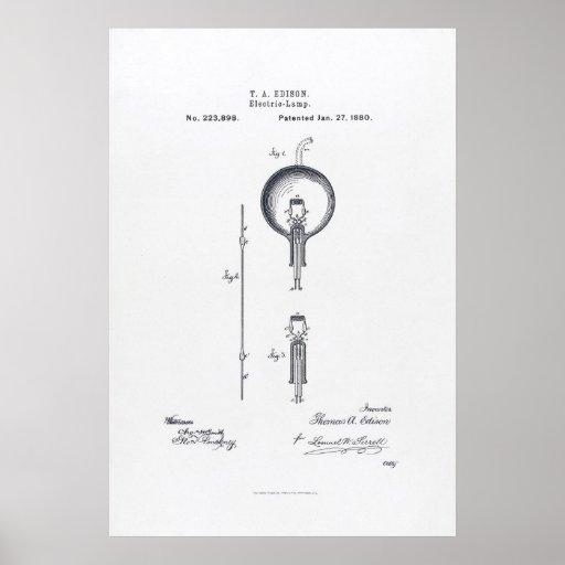 Thomas Edison's Light Bulb Patent Application 1880 Print