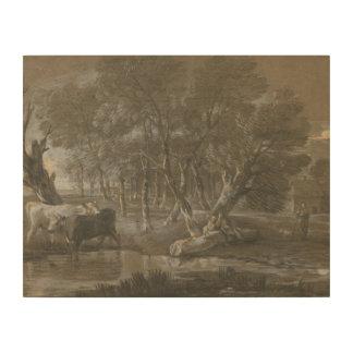 Thomas Gainsborough - A Moonlit Landscape Wood Canvases