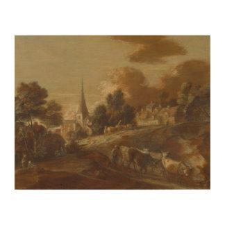 Thomas Gainsborough - An Imaginary Wooded Village Wood Canvas