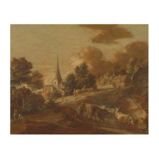 Thomas Gainsborough - An Imaginary Wooded Village Wood Canvases