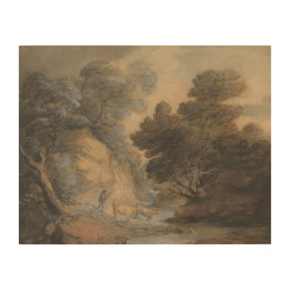 Thomas Gainsborough - Cattle Watering by a Stream Wood Canvases