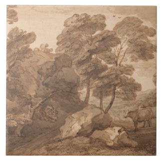 Thomas Gainsborough - Landscape with Cows Large Square Tile