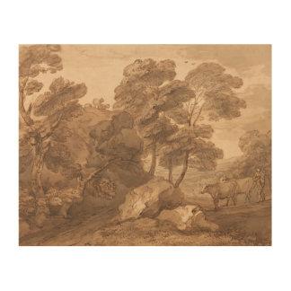Thomas Gainsborough - Landscape with Cows Wood Print