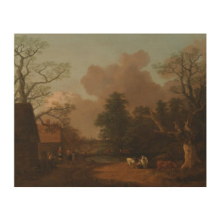 Thomas Gainsborough - Landscape with Milkmaid Wood Canvases