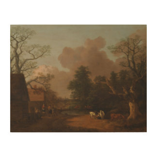 Thomas Gainsborough - Landscape with Milkmaid Wood Print