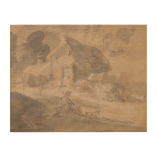Thomas Gainsborough - Open Landscape with Figures Wood Canvases