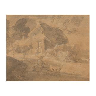 Thomas Gainsborough - Open Landscape with Figures Wood Print