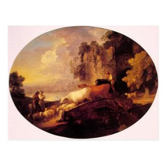 Thomas Gainsborough- River Landscape,Rustic Lovers Postcard