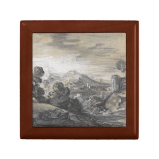 Thomas Gainsborough - Wooded Landscape with Castle Small Square Gift Box