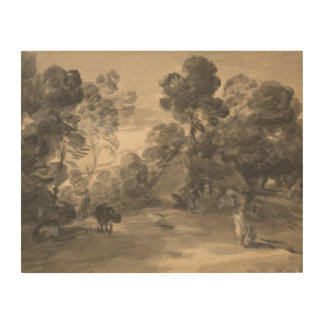 Thomas Gainsborough - Wooded Landscape with Figure Wood Canvas