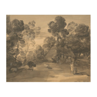 Thomas Gainsborough - Wooded Landscape with Figure Wood Prints