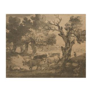 Thomas Gainsborough - Wooded Landscape with Herdsm Wood Canvas