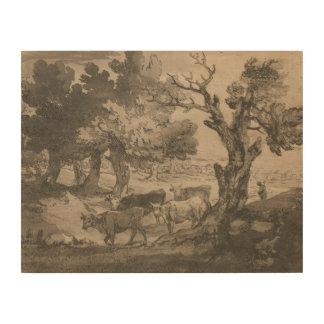 Thomas Gainsborough - Wooded Landscape with Herdsm Wood Print
