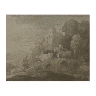 Thomas Gainsborough - Wooded Landscape Wood Canvases