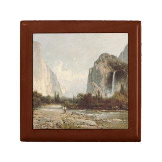 Thomas Hill - Yosemite, Bridal Veil Falls Small Square Gift Box