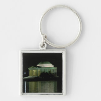 Thomas Jefferson Memorial at Night Silver-Colored Square Key Ring