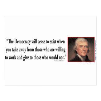 Thomas Jefferson On Democracy Post Cards