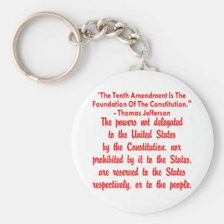 Thomas Jefferson On The 10th Amendment Basic Round Button Key Ring