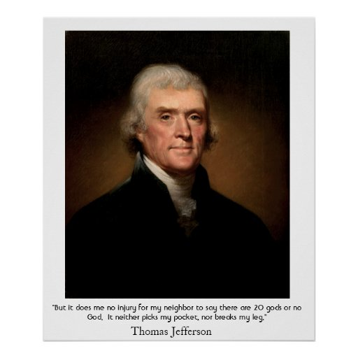 Thomas Jefferson on the State and Religion Poster