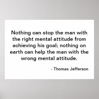 Thomas Jefferson Quote - Attitude Poster