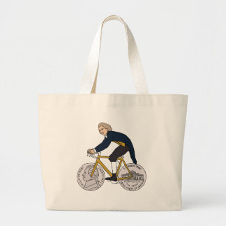 Thomas Jefferson Riding Bike W/ Nickel Wheels Large Tote Bag