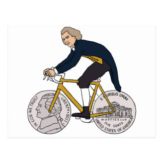 Thomas Jefferson Riding Bike W/ Nickel Wheels Postcard