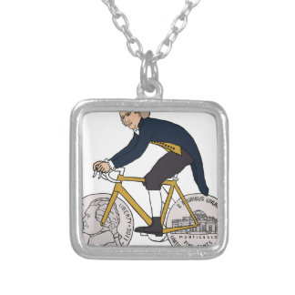 Thomas Jefferson Riding Bike W/ Nickel Wheels Silver Plated Necklace