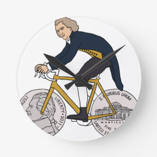 Thomas Jefferson Riding Bike W/ Nickel Wheels Wall Clocks