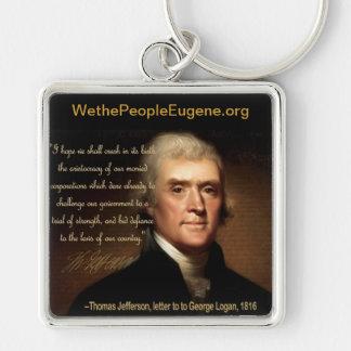 Thomas Jefferson Silver-Colored Square Key Ring