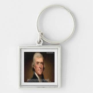 Thomas Jefferson Trickle Down Gifts & Cards Silver-Colored Square Key Ring