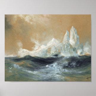 THOMAS MORAN (1837-1926) Icebergs (1891) watercolo Poster