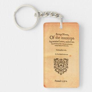 Thomas Nashe 1592 Title Page Shakespeare Keychain