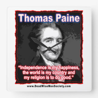 Thomas Paine Quote about Independence/Happiness. Wallclock