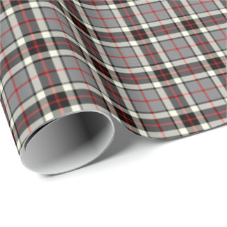 Thompson Clan Gray Formal Dress Tartan Wrapping Paper