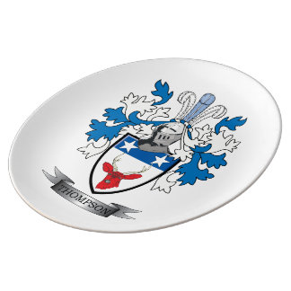 Thompson Family Crest Coat of Arms Porcelain Plate
