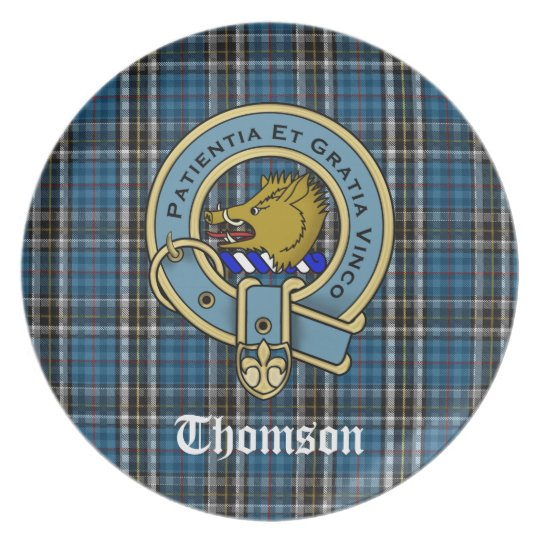 Thomson Dress Tartan Plaid and Clan Crest Badge Plate